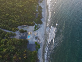 Aerial view of the villa on the Caribbean Sea showing tropical foliage and driveway to villa.